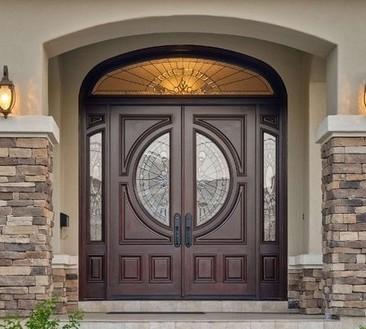 portone ingresso legno vetro